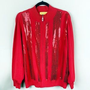 St. John Red Sweater Jacket Size XL